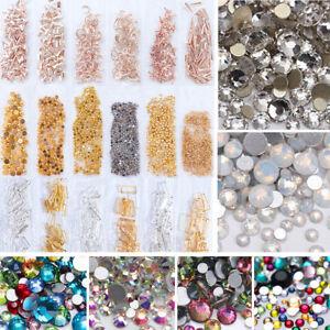 3D Mixed Glitter Crystals Flat Back Rhinestones Gem Tips Nail Art  Decor