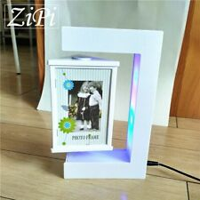 GIFT E-Shape Magnetic Levitation Floating Photo Frame Colorful LED Lights Decor
