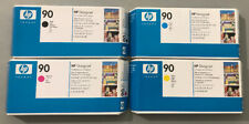 4 New OEM HP 90 Printheads & Cleaners C5054A C5055A C5056A C5057A-Factory Sealed
