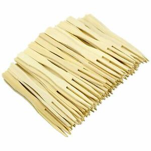 140 mm Disposable Wooden Brown Fruit Mini Forks Bamboo Party Wear Cutlery