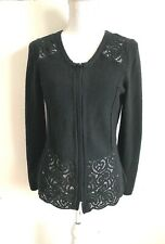 Anthropologie Sparrow Black Wool Blend Zip Up Sweater Jacket Size M