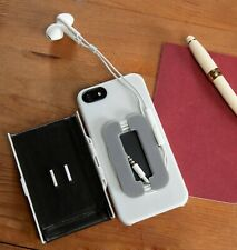 iPhone 5 5s Phone Case Cover Protector Card Holder Cable Tidy Headphones Black