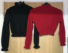 Ladies Cropped Ruffle Neck Jumpers x2 Uk Size 10