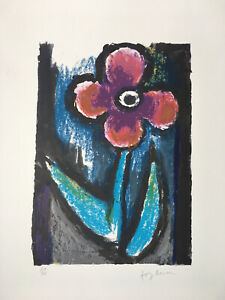"JOSEF HERMAN OBE RA 1911-2000 ""A Lyrical Flower"" Limited Ed Lithograph Ed 75"