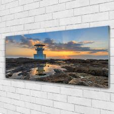 Acrylglasbilder Wandbilder Druck 125x50 Leuchtturm Landschaft