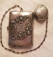 Sterling Silver Victorian Purse and Rosary Box Art Noveau Engraved EMR NY