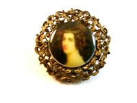 Vintage Portrait Brooch of a Lady Brooch Marked Western Germany