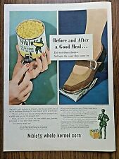 1944 Jolly Green Giant Ad Before & after a Good Meal Niblets Whole Kernel Corn