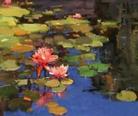 CHOP1386 100% hand painted Pond lotus leaf&landscape oil painting art on canvas