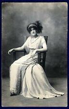 Woman Wearing Dress w Fringe - antique RPPC