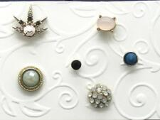 6 pc Single Earring LOT Stud Post Earrings Mix/Match Rhinestone Dome Spike +More