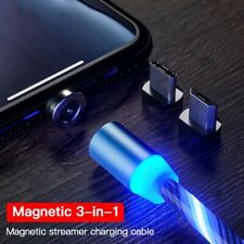 Magnetic LED Light Flowing Lightning Cable Micro USB PHONE TYPE C Charger 3 in 1