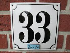 Hausnummer Mega Groß  Emaille Nr 33 schwarze Zahl weißer Hintergrund 20cmx20 cm