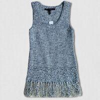 WHBM Sweater Size XXS Crochet Fringe Boho Tank Top Sleeveless Marled Festival