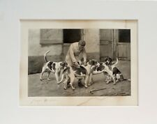 More details for foxhounds in kennels being groomed  antique dog art print signed george wright