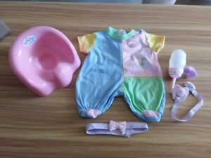 ZAPF  BABY BORN ACCESSORIES POTTY ROMPER SUIT DUMMIES HEADBAND & BOTTLE