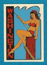 "VINTAGE ORIGINAL 1948 SOUVENIR ""WASHINGTON"" GLAMOUR GIRL PINUP TRAVEL DECAL ART"