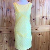 Adrianna Papell Yellow Polka Dot Lacey Dress EUC Size 14