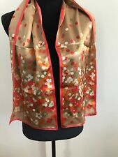 "Vintage 100% Silk Scarf Anne Klein designer Floral Orange Multicolor 11""x52"""