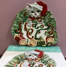 Christmas Kitty Kringle Canape Plate Dish by Fitz and Floyd new in box