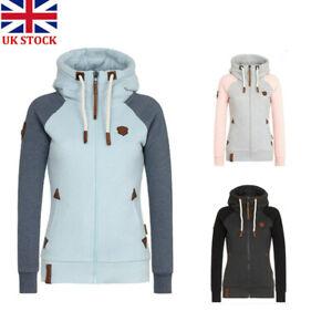 Womens Hoodie Sweatshirt Zip Up Plain Jacket Hooded Ladies Jumper Hoody Top Coat