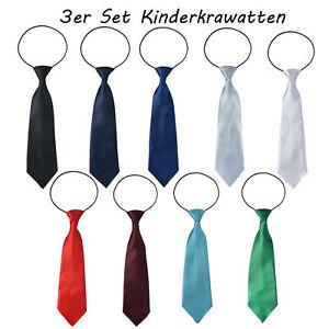 3 Stück Paar Kinder Krawatten Kinderkrawatte Jungen Gummiband gebunden dehnbar