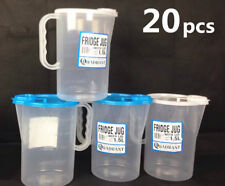 20x 1.5Liter Clear Plastic Fridge Jug with Lid Measuring Cup #3838