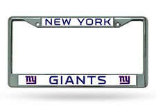 NFL New York Giants Chrome License Plate Frame Thin Blue Letters