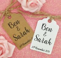 "Personalised Wedding Favour Gift Tags ""Thank you"" Guest Label Kraft"