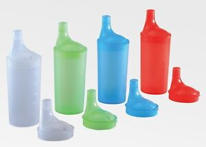 Plastic Feeding Cup with 2 LIDS - Adult Feeder Beaker with Large and Narrow spou