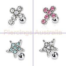 16G 6mm Gem Cartilage Tragus Bar Ear Ring Piercing Stud Barbell Body Jewellery