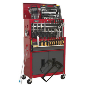 SEALEY TOPCHEST & ROLLER CABINET TOOLBOX & 128PC TOOLKIT 6 DRAWERS & CUPBOARD
