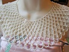 Huge Vintage Bib Collar Faux Pearl Necklace FREE SHIP Antique Ornate Bold Lacey
