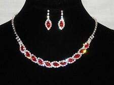 Red Ruby Marquise and Clear Round Rhinestones Crystal Necklace & Earrings Set