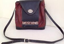 MOSCHINO Leather Shoulder Bag Crossbody Purse Couture Logo Tote Satchel Hobo