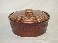 Old Vintage Stoneware Crock Pottery Bowl & Lid w Ribbed Sides Marked USA