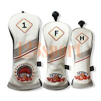 Golf Wood Head Covers Driver Fairway Utility Wood Club Cover White Roulette New