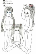 """24"""" Cloth fabric rag doll pattern 3 different hair face hands and arm patterns"""