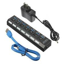 7 Port USB 3.0 Ports Hub On/Off Switch +AC Power Adapter For PC Laptop-US Seller