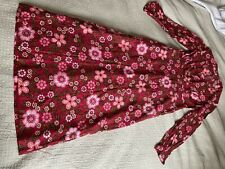 True Vintage 60s Maxi Dress Pink Bold Floral Long Sleeve 10-12 NEEDS ZIP REPAIR