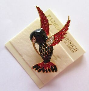 Pin/Brooch HUMMINGBIRD- gold tone- black & red - gold tone -clear stones