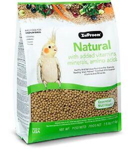 ZUPREEM NATURAL MEDIUM COMPLETE FOOD COCKATIELS LOVEBIRDS QUAKERS 1.1KG (2.5LB)