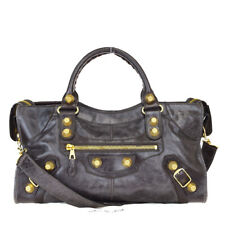 Authentic BALENCIAGA The City 2way Giant Shoulder Hand Bag Leather Brown 83EZ233