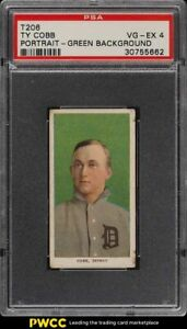 1909-11 T206 Ty Cobb GREEN PORTRAIT PSA 4 VGEX