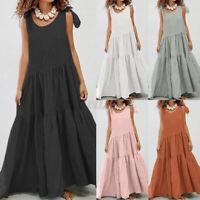 ZANZEA 8-24 Women Tiered Layered Long Maxi Sundress Tie Bow Party Beach Dress