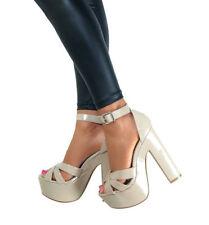Block Strappy Medium Width (B, M) Synthetic Heels for Women