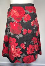 Laura Ashley Floral A-Line Linen Skirt Size 12 Black Red Grey