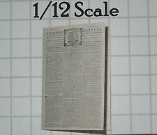 Dollhouse Miniature Colonial Newspaper - Virginia Gazette April 22 1775