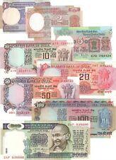 UNC India 1975-1995 Ashoka Set 1 2 5 10 20 50 100 500 Rupees P-78A-82, 84, 86-87