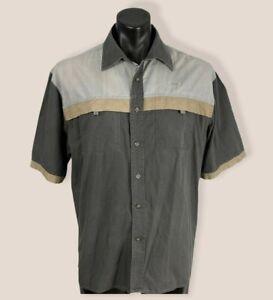 Men's BUFFALO CREEK S/S shirt size L 100% cotton classic fit taupe colour block